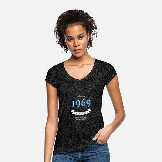 Date T-Shirts - 1969 year of birth birthday gift pride birth - Women's Vintage T-Shirt charcoal grey