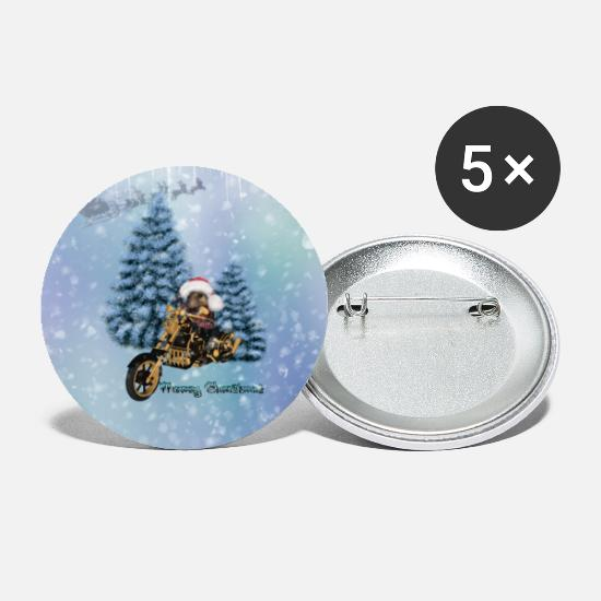 Mouse Buttons - Merry Christmas, funny mouse on motorcycle with hat n - Large Buttons white