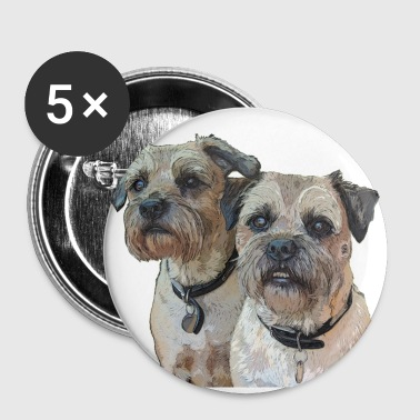Two Border Terriers - Buttons large 56 mm