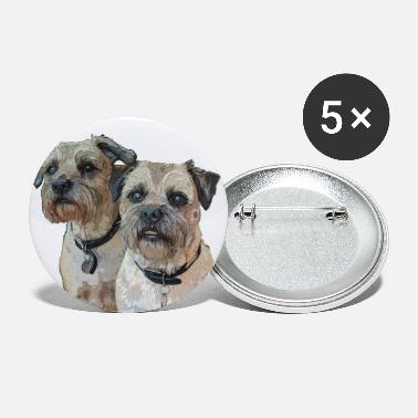 Two Border Terriers - Large Buttons