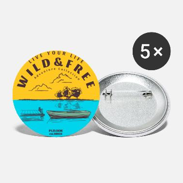 Adventure Collection - boat on lake - Large Buttons