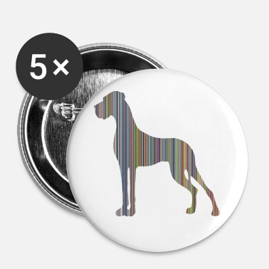 Dogge in Farbe DIGITALDRUCK - Buttons groß 56 mm (5er Pack)