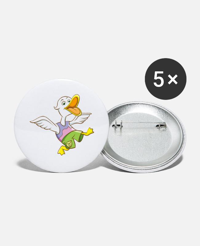 Goose Buttons - Funny animal design with duck - Large Buttons white