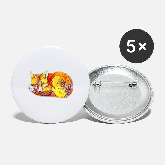 Jul Buttons & badges - ræv - Store buttons hvid