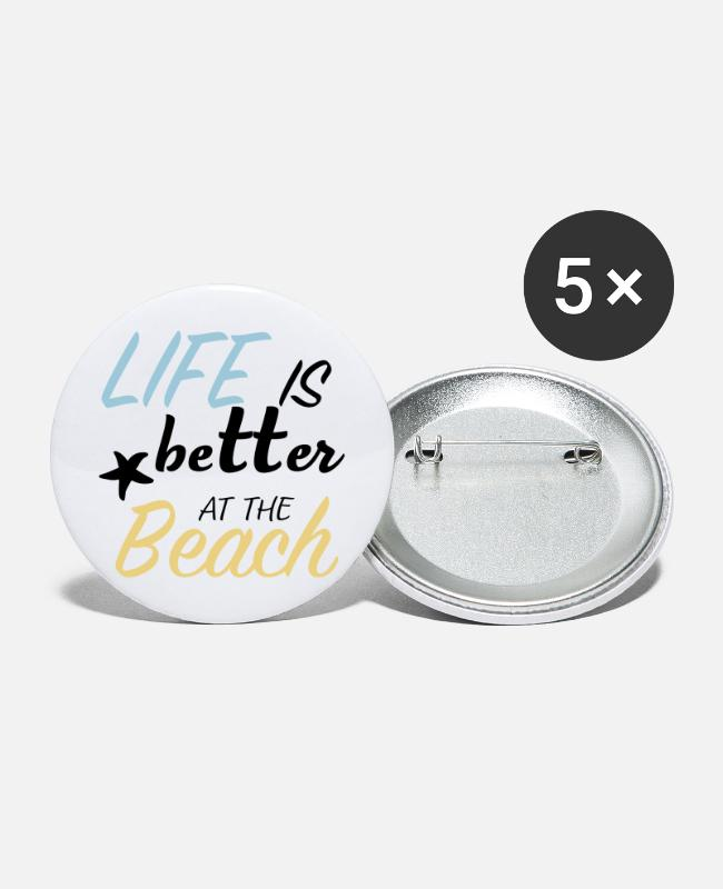 Water Buttons - life is better at the beach - Large Buttons white