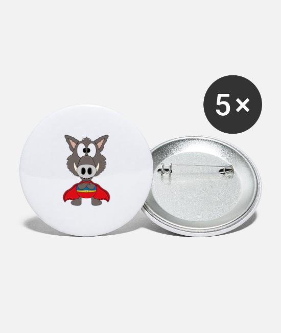Stag Buttons - Funny Boar - Wild Board - Superhero - Large Buttons white