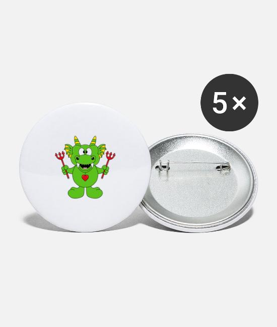 Father's Day Buttons - Funny dragon - devil - child - baby - fun - Large Buttons white