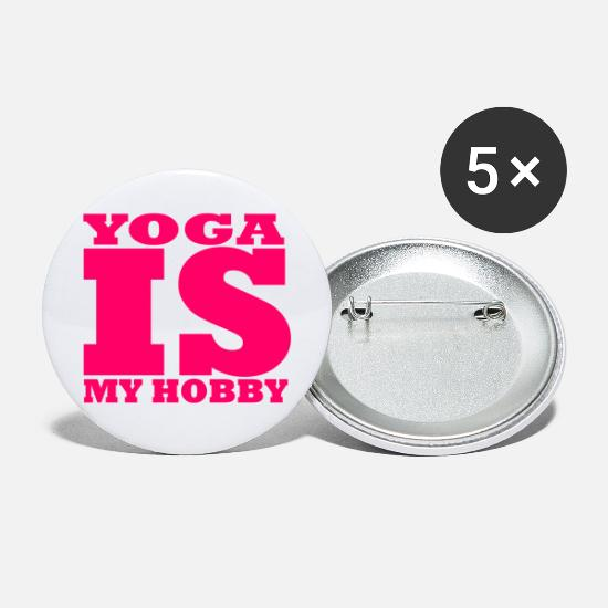 New Buttons - Yoga is my hobby - Yoga is my hobby - Large Buttons white
