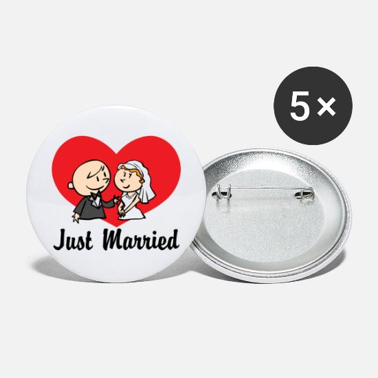 Bride Buttons - Just Married With Heart - Large Buttons white