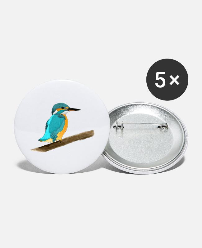 Nature Buttons - European kingfisher - Large Buttons white