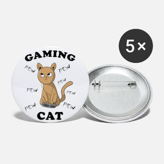Gift Idea Buttons - Cat Kitten Gambling Gaming Funny pictures - Large Buttons white