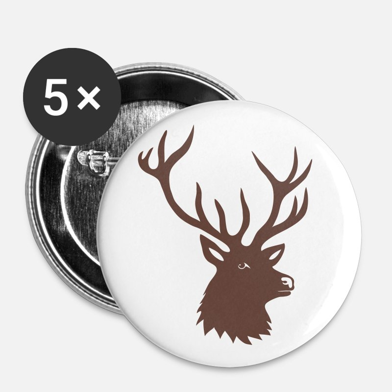 Animal Badges - cerf ramure bois corne cornes animal sauvage  - Grands badges blanc