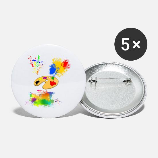 Painter Buttons - Color splatters with color palette - Large Buttons white