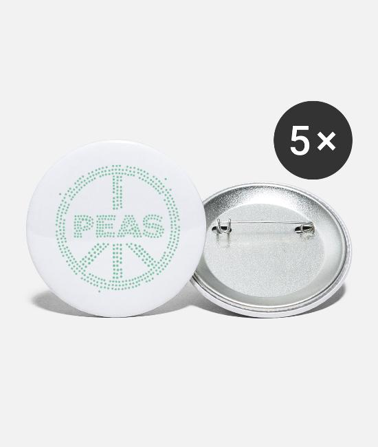 Hipster Buttons - Peas - Large Buttons white