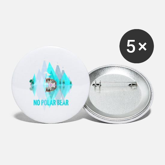 Gift Idea Buttons - No Polar Bear No polar bear cat cats - Large Buttons white