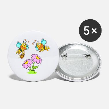 Bees with flowers and honey pot - Large Buttons