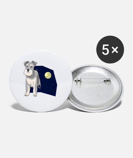 Dog Buttons - Dog four-legged mutt dog cattle Kläffer male - Large Buttons white