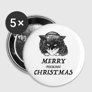 bad cat merry christmas - Stor pin 56 mm