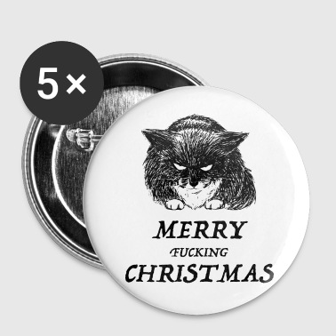 bad cat merry christmas - Stora knappar 56 mm