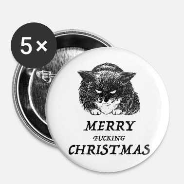 bad cat merry christmas - Buttons groot 56 mm