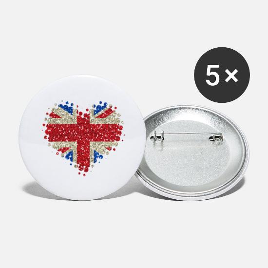 Union Jack Buttons - I Love Great Britain - England Union Jack - Large Buttons white