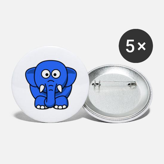 Gift Idea Buttons - blauer Elefant - Large Buttons white