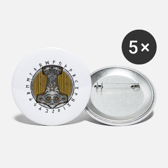 Hammer Buttons - Thor hammer Mjolnir on the shield - Large Buttons white