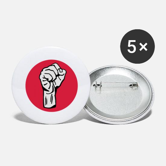 Guevara Buttons - fist / fight / revolution 3c round - Buttons groot wit