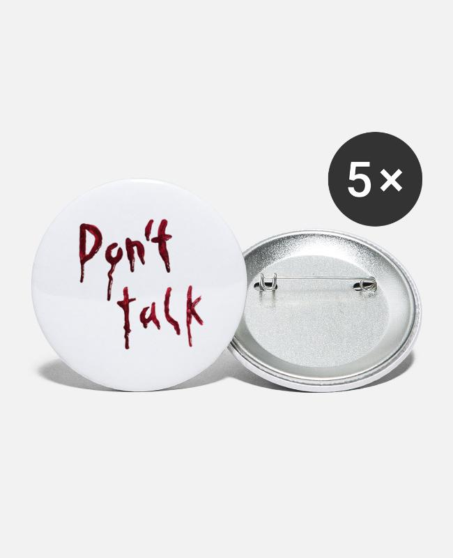 Grimmig Buttons & Anstecker - Don't talk (bleeding letters) - Buttons groß Weiß