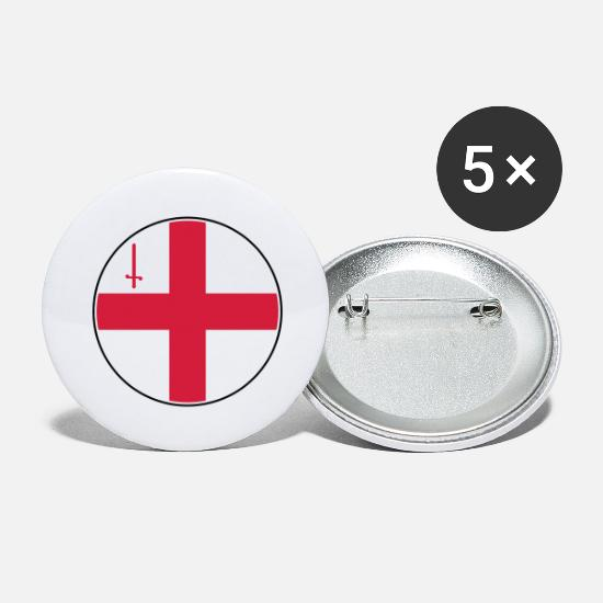 London Buttons & Anstecker - London Flagge Rund, Pixellamb ™ - Buttons groß Weiß