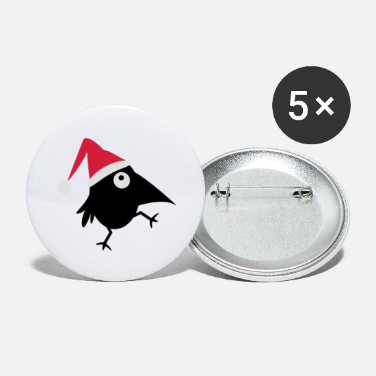 Raven Buttons - Christmas raven - Large Buttons white