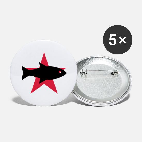 Boss Buttons - Fishmonger / Fischhändler / Fish / Poissonnier - Large Buttons white