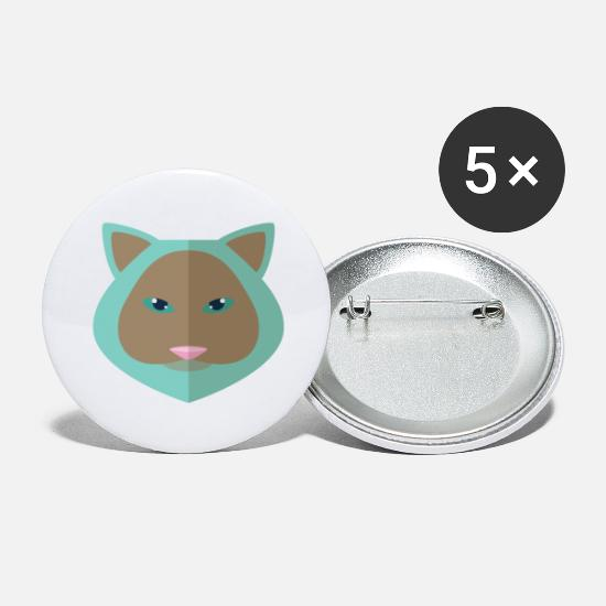 Animal De Ferme Badges - renard bleu - Grands badges blanc