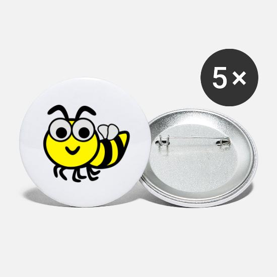 Kind Buttons & Anstecker - Funny Bee - Buttons groß Weiß