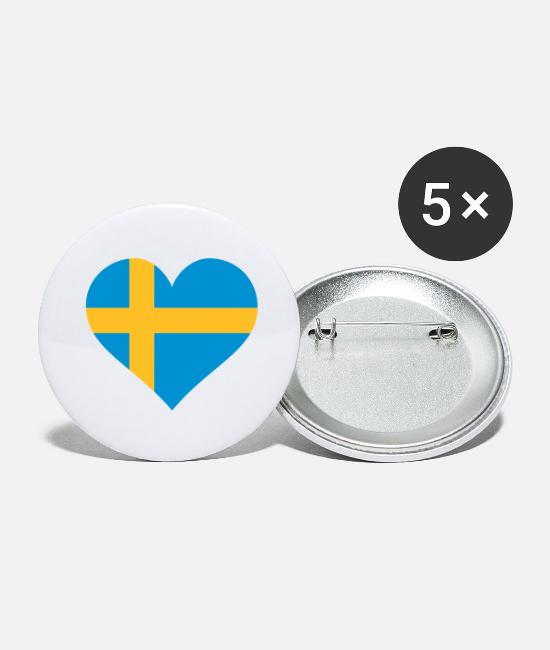 Soccer Buttons - schweden herz - Large Buttons white