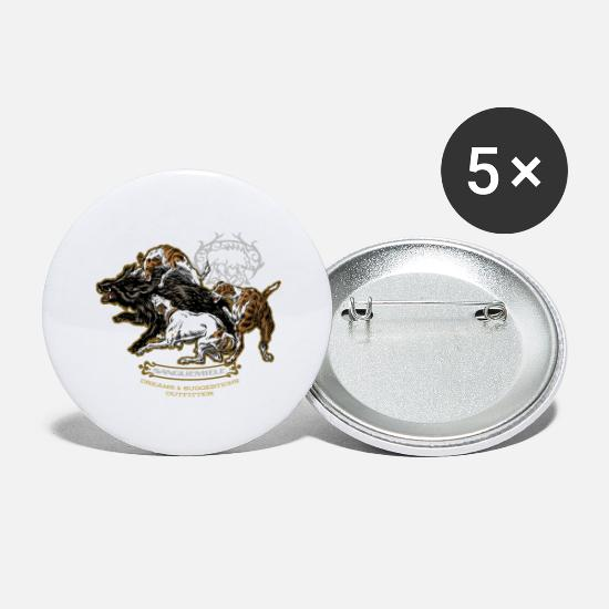 Wild Boar Buttons - wild_boar_and_hounds - Large Buttons white