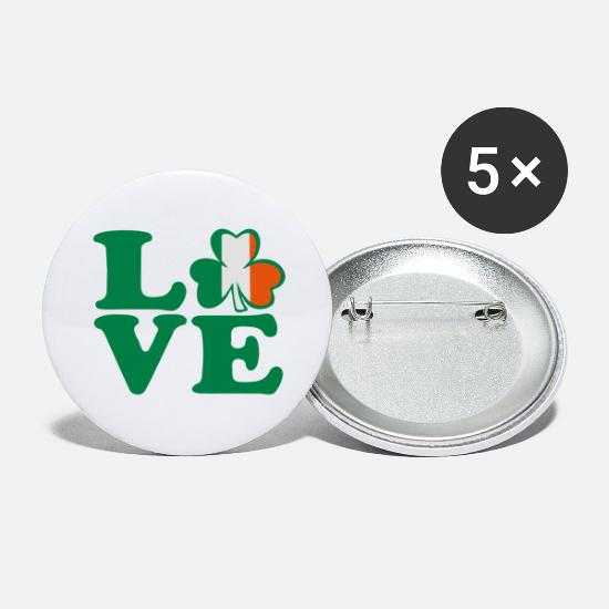 I Am In Love With Irish People Ireland UK Vector Irish Font Design With Romantic Heart For Irish Clo Buttons - ♥ټ☘I Love Irish-Ireland-Happy St Patty's Day☘ټ♥ - Large Buttons white