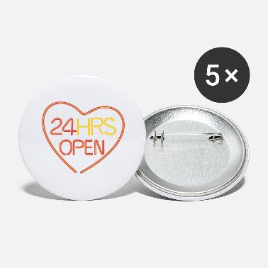Couples Neon: 24 HRS open heart - Large Buttons