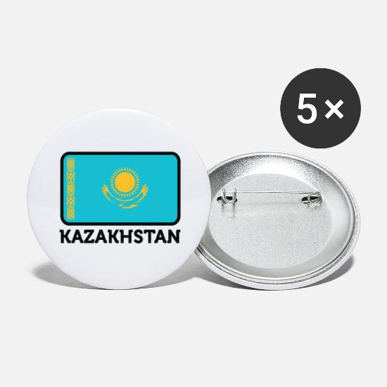 Flag Buttons - National Flag Of Kazakhstan - Large Buttons white
