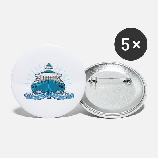 Ship Mechanic Buttons - Ship cruise lake sea cruise ship boat - Large Buttons white