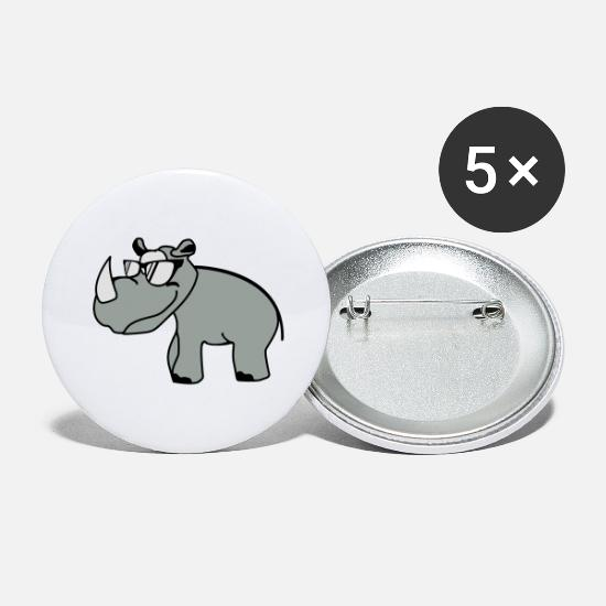 Hippie Badges - Rhino hippie conceptions animales fraîches - Grands badges blanc