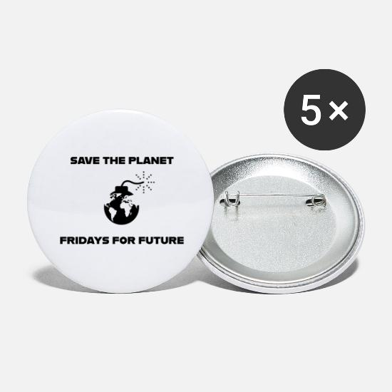 Green Buttons - Save the Planet Fridays for Future - Large Buttons white