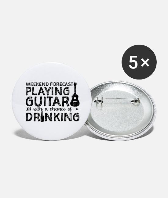 Guitar Buttons - Weekend Forecast Playing Guitar With A Chance Of D - Large Buttons white