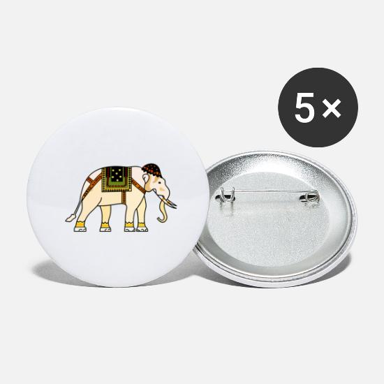 Gift Idea Buttons - Elephant with colorful pattern - Large Buttons white