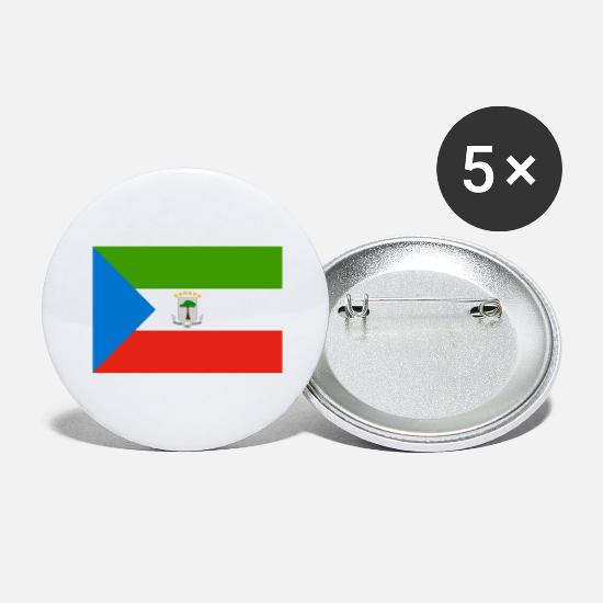 Guinea Pig Buttons - Equatorial Guinea flag - Large Buttons white