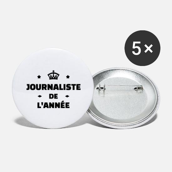 Tv Buttons & badges - journalist / journalistik / avis / reporter - Store buttons hvid