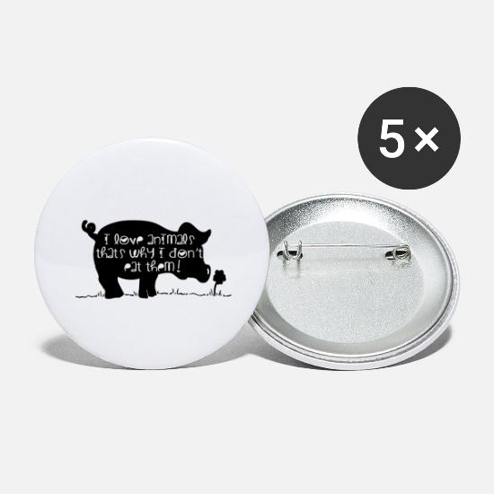 Animal Liberation Buttons - love animals - Large Buttons white