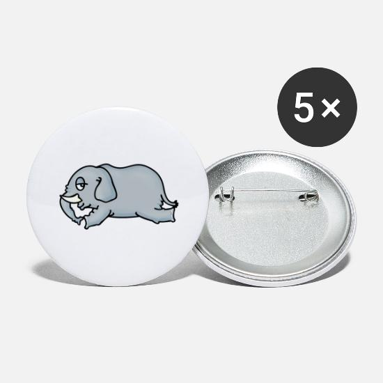 Circus Buttons - Liegender Elefant (DDP) - Large Buttons white