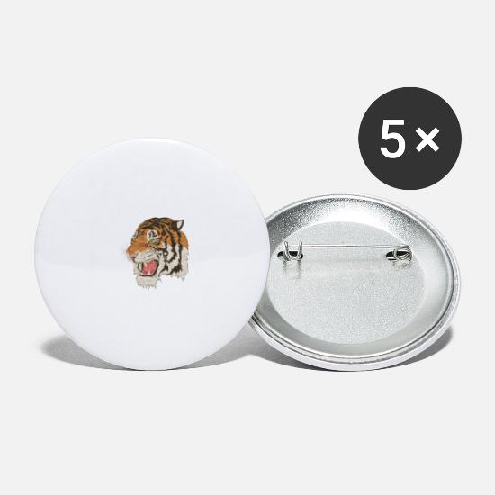 Crazy Buttons & badges - tiger - Store buttons hvid