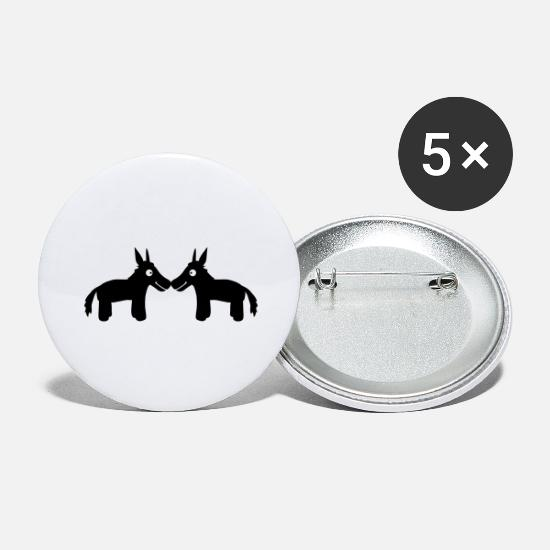 Small Buttons - Donkey Couple - Large Buttons white